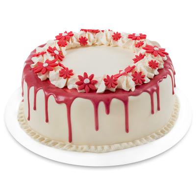 Tort Decorat cu Flori Roșii